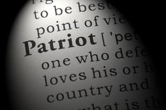 Definition of patriot. Fake Dictionary, Dictionary definition of the word patriot. including key descriptive words stock image