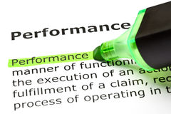 Definition Of Performance. The word Performance highlighted in green with felt tip pen Stock Photo