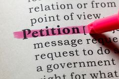 Definition of petition. Fake Dictionary, Dictionary definition of the word petition. including key descriptive words stock images