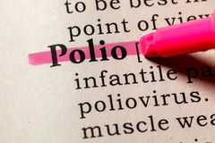 Definition of Polio. Fake Dictionary, Dictionary definition of the word Polio. including key descriptive words Royalty Free Stock Photo