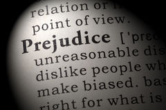 Definition of prejudice Stock Photos