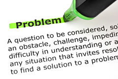 Definition Of Problem. Definition of the word Problem highlighted with green marker on white paper Stock Image