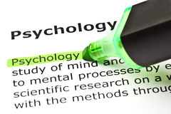 Definition Of Psychology. Definition of the word Psychology highlighted with green text marker Royalty Free Stock Photos