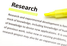 Definition of research. Close up Royalty Free Stock Images