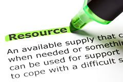 Definition Of Resource. The word Resource highlighted in green with text marker Stock Images