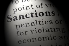 Definition of sanctions. Fake Dictionary, Dictionary definition of the word sanctions. including key descriptive words royalty free stock image