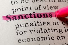 Definition of sanctions. Fake Dictionary, Dictionary definition of the word sanctions. including key descriptive words stock photo