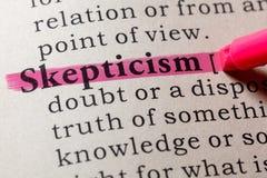 Definition of skepticism. Fake Dictionary, Dictionary definition of the word skepticism. including key descriptive words stock photo