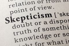 Definition of skepticism. Fake Dictionary, Dictionary definition of the word skepticism. including key descriptive words royalty free stock image