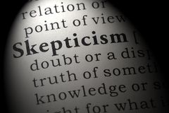 Definition of skepticism. Fake Dictionary, Dictionary definition of the word skepticism. including key descriptive words royalty free stock photo