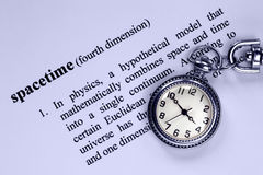 Definition of Spacetime and Pocket Watch Stock Images