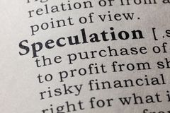 Definition of speculation. Fake Dictionary, Dictionary definition of the word speculation. including key descriptive words Royalty Free Stock Photos