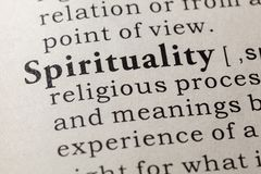 Definition of spirituality. Fake Dictionary, Dictionary definition of the word spirituality. including key descriptive words royalty free stock photo
