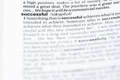 Definition of successful. Closeup of the definition of successful in a dictionary Stock Images