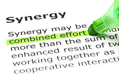 Definition Of Synergy. Combined Effort highlighted in green, under the heading Synergy Royalty Free Stock Photography