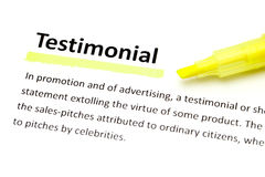 Definition of testimonial Stock Photo