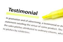 Definition of testimonial stock photo