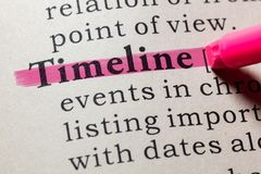 Definition of Timeline. Fake Dictionary, Dictionary definition of the word Timeline. including key descriptive words stock image