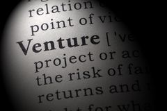 Definition of Venture. Fake Dictionary, Dictionary definition of the word Venture. including key descriptive words Royalty Free Stock Image