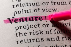 Definition of Venture. Fake Dictionary, Dictionary definition of the word Venture. including key descriptive words Royalty Free Stock Photography