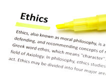 Definition von Ethik lizenzfreies stockfoto
