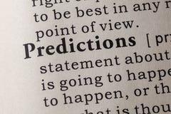 Definition von Vorhersagen Stockbild