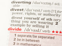 The definition of the word divide. As it is written in the dictionary stock photo
