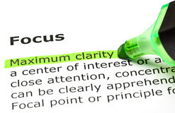 Definition Of The Word Focus. Maximum clarity highlighted in green, under the heading Focus stock photography