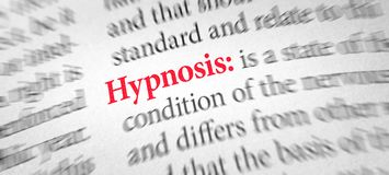 Definition of the word Hypnosis in a dictionary royalty free stock image