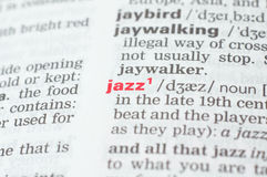 Definition of the word jazz. As it appears in the dictionary Royalty Free Stock Images