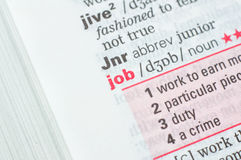 Definition of the word job Stock Image