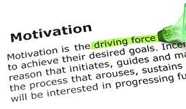 Definition Of The Word Motivation. Driving force highlighted in green, under the heading Motivation Stock Images