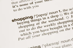 Definition word shopping in dictionary Royalty Free Stock Photography