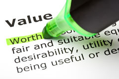 Definition Of The Word Value. Worth highlighted with green felt tip pen stock image