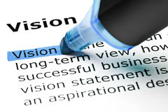 Definition Of The Word Vision. Highlighted with blue text marker Royalty Free Stock Photography