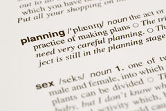 Definition words planning and sex in dictionary Stock Photos