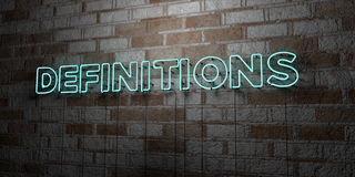 DEFINITIONS - Glowing Neon Sign on stonework wall - 3D rendered royalty free stock illustration Stock Photo
