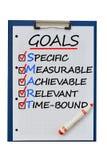Definizione astuta di scopi per raggiungere gli obiettivi del business plan Fotografia Stock