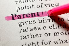 Definizione del genitore fotografia stock