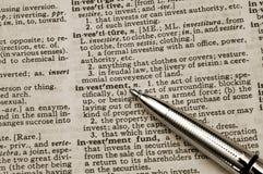 Definizione dell'investimento Immagine Stock Libera da Diritti