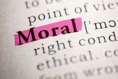 Definizione della morale di parola fotografia stock libera da diritti