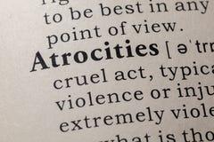 Definizione delle atrocità immagine stock