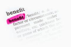 Definizione di dizionario del beneficio Fotografie Stock Libere da Diritti