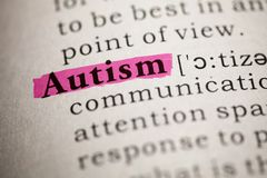 Definizione di dizionario dell'autismo di parola fotografia stock libera da diritti