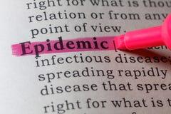 Definizione di dizionario dell'epidemia fotografie stock