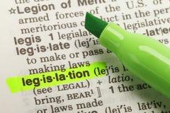 Definizione di legislazione Immagini Stock