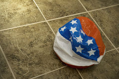 Deflated American flag toy ball Stock Photo