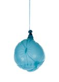 Deflated blue balloon at a rope Royalty Free Stock Photos