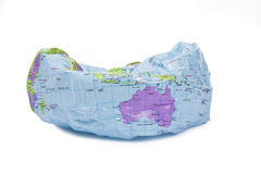 Deflated world globe Royalty Free Stock Image