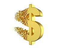 Deflatera dollartecknet Arkivbild